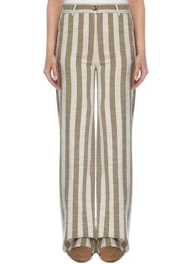 NetWork Kadın 1073181 Basic Fit Yüksek Bel Çizgili Pantolon Haki